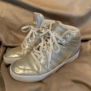 Size 8 1/2 Gold tone Adidas High Tops
